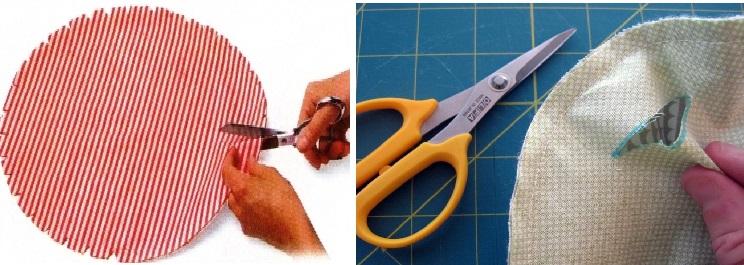 вырезаем круг для коврика из ткани