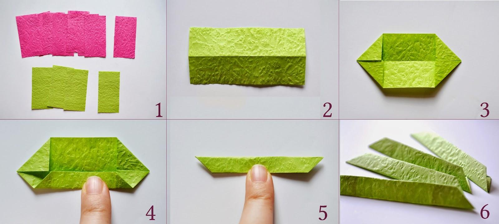 Лотос оригами-складываем зеленый модуль