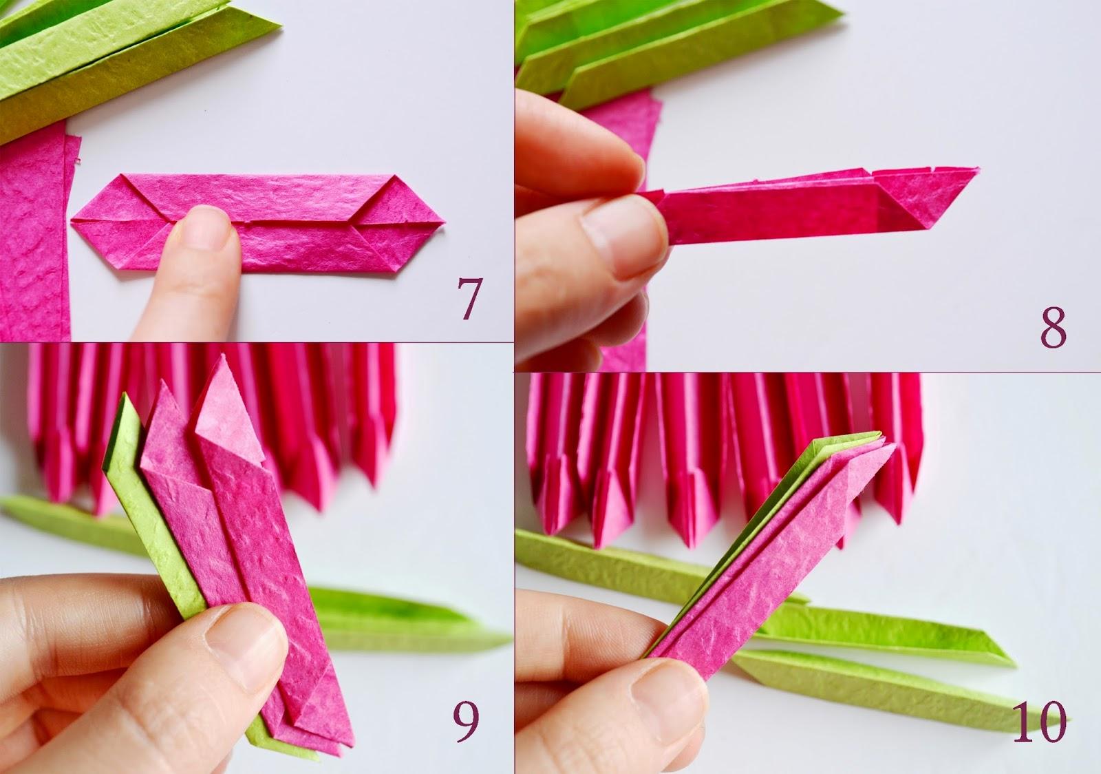 Лотос оригами-формируем розовые модули