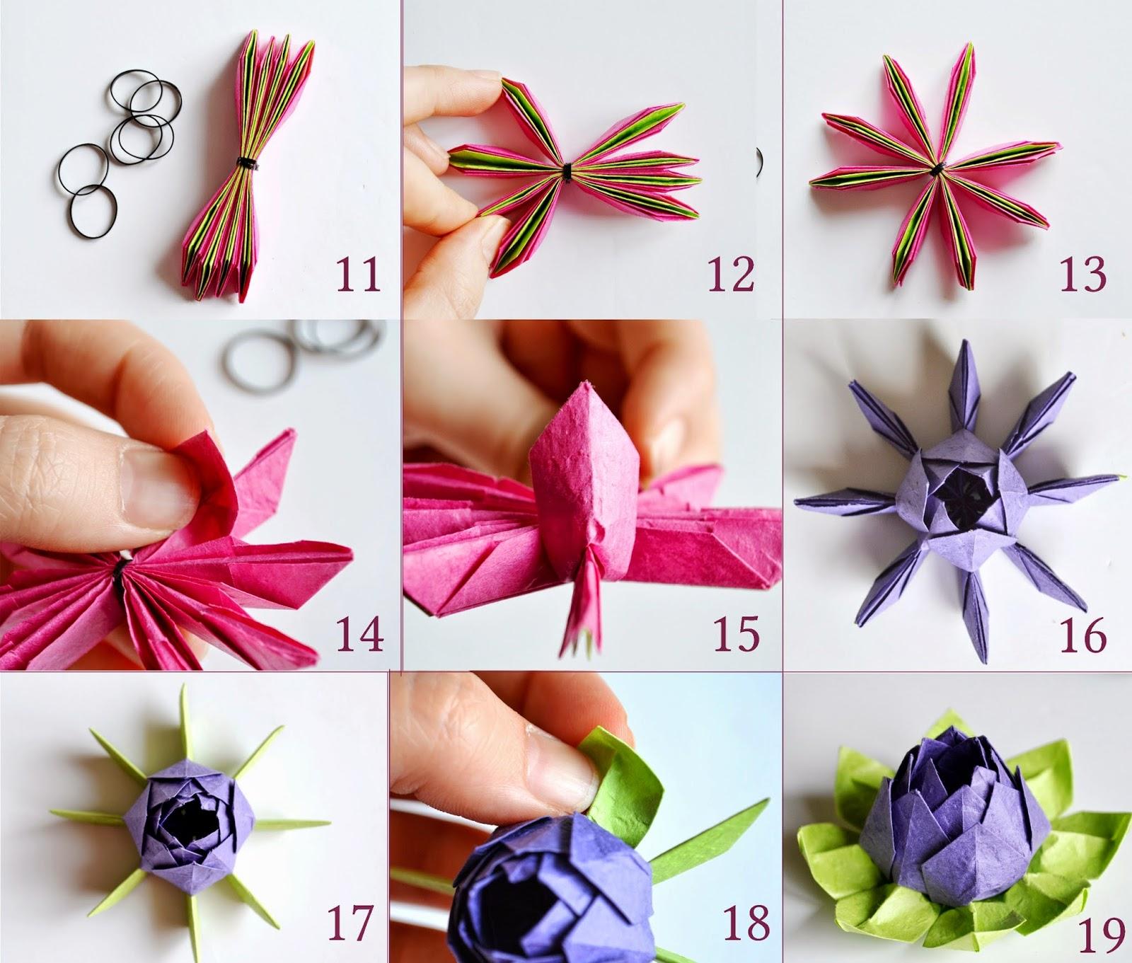 Модульное оригами схема цветка лотоса.