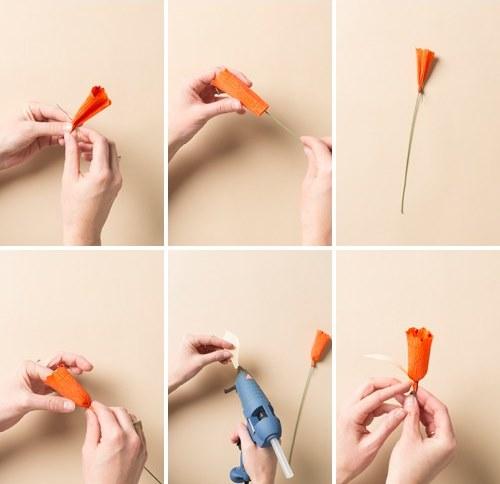 Нарцисс из бумаги-начинаем собирать цветок