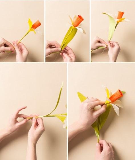 Нарцисс из бумаги-добавляем листики