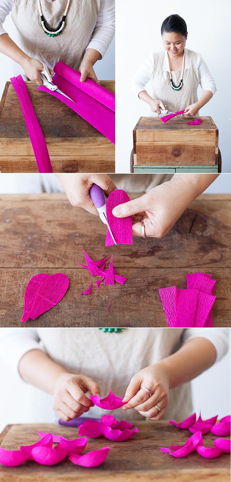 Пионы из бумаги-делаем розовые лепестки