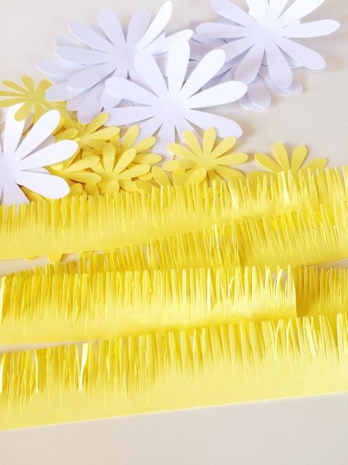 ромашка из бумаги - заготовки для бахромы