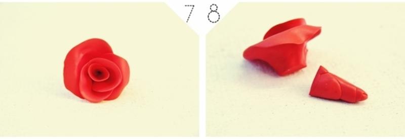 Роза из полимерной глины-обрезаем основание