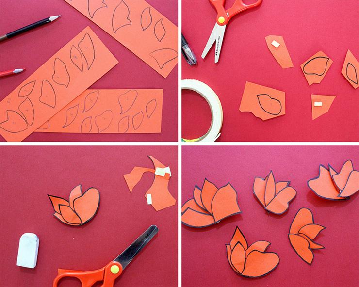 Упаковка подарков в японском стиле-вырезаем и клеим лепестки