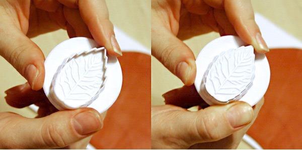 Заколка из полимерной глины-вид резца для листьев