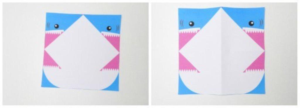 Акула оригами-сложите бумагу посередине