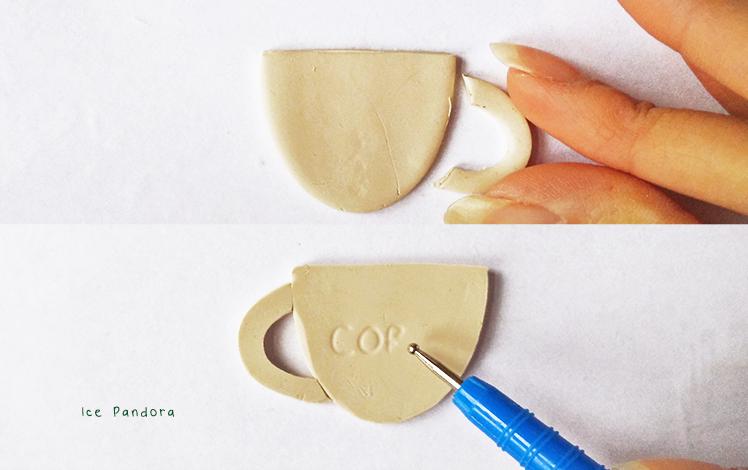 Брошь из полимерной глины-приделайте ручку и напишите надпись