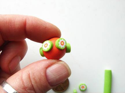 Бусины миллефиори-приложите ломтики к шарику