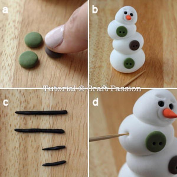 Снеговик из полимерной глины-сделайте пуговицы и руки