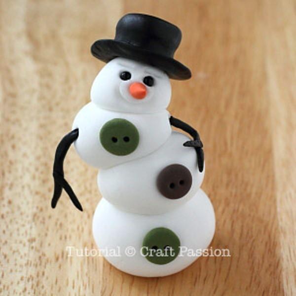 Снеговик из полимерной глины-наденьте шляпу