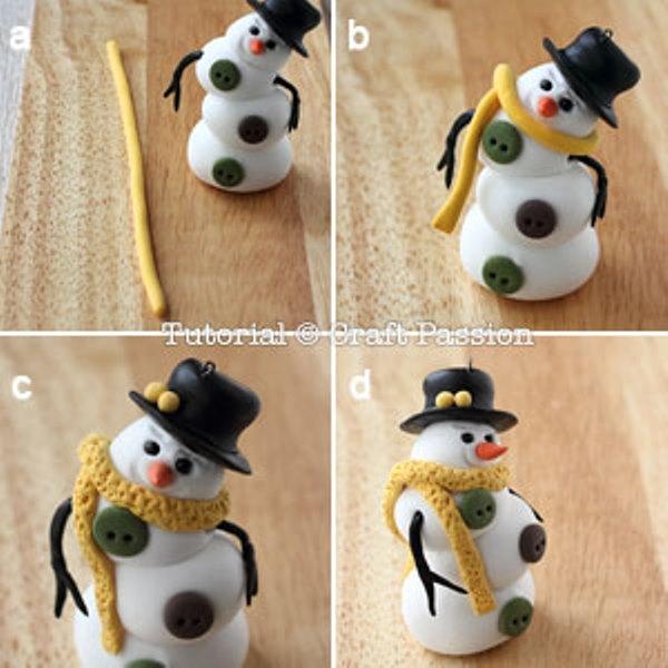 Снеговик из полимерной глины-повесьте шарф