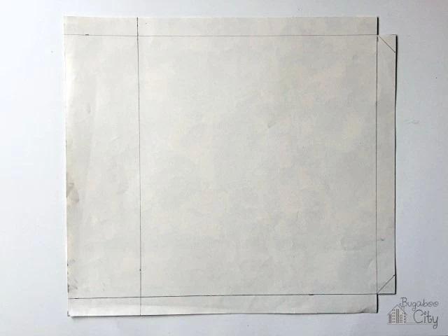 Наносим разметку на бумагу для задней части обложки