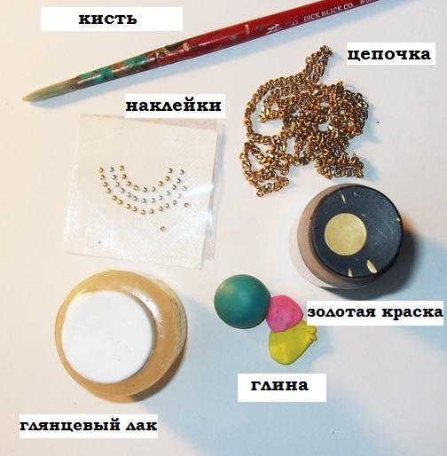 Колье с клубникой из полимерной глины-материалы