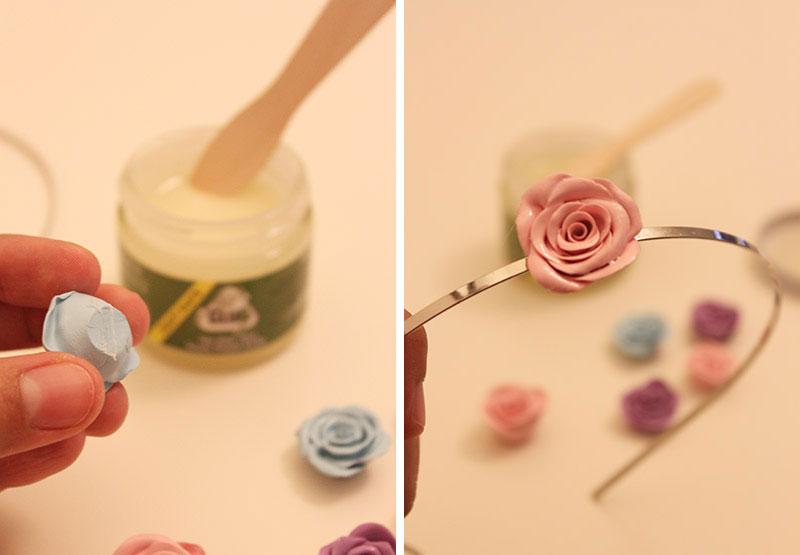 Ободок с розами-приклейте цветы
