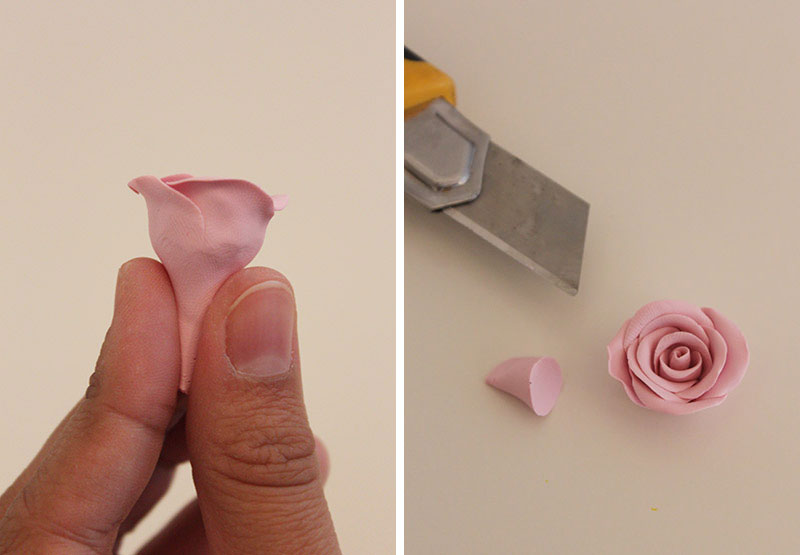 Ободок с розами-прижмите цветок и обрежьте его низ