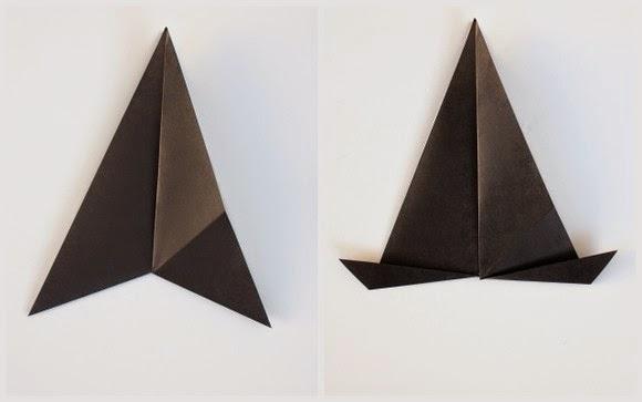 Оригами кошка-нижние уголки загните вверх