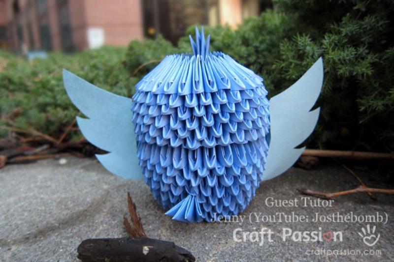 Оригами сова из модулей-вид сзади
