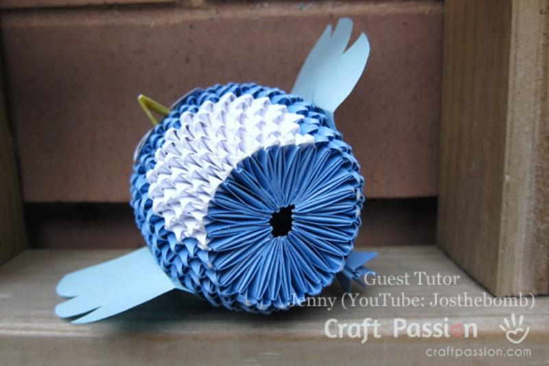Оригами сова-вид снизу