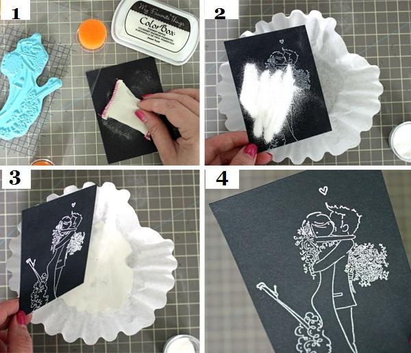 Этапы изготовления открытки на свадьбу