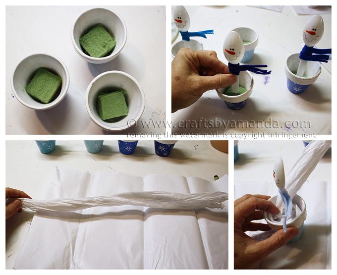 Снеговик из пластиковой ложки в глиняном горшке-поместите снеговиков в горшки