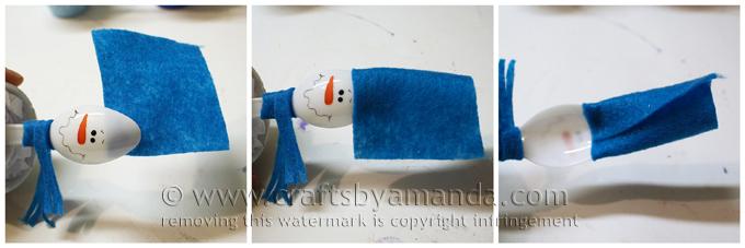 Снеговик из пластиковой ложки в глиняном горшке-сделайте основу для шапки