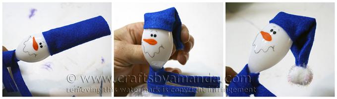 Снеговик из пластиковой ложки в глиняном горшке-шапка-чулок
