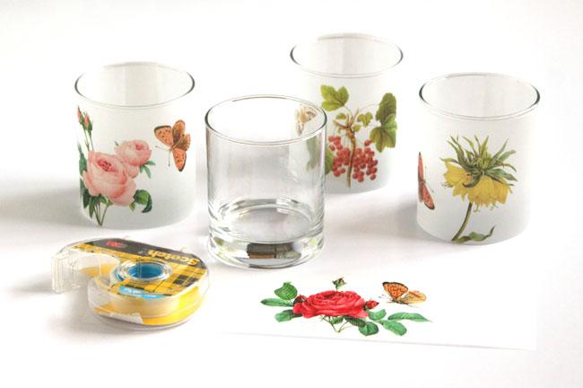 Свечи на свадьбу-прикрепите рисунки к бокалам