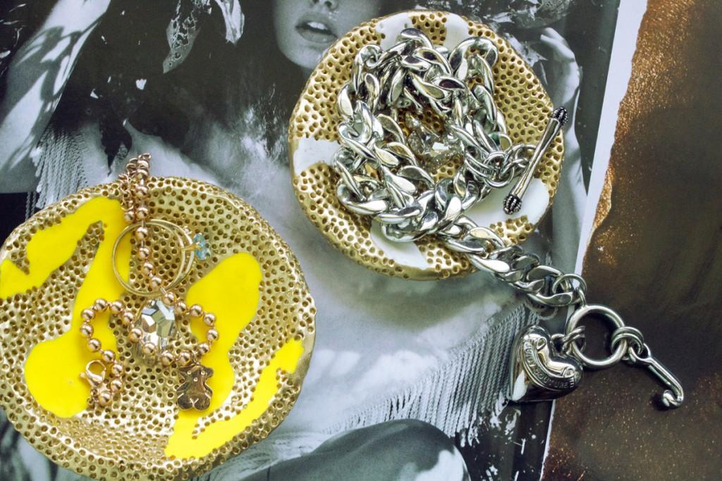 Тарелки из полимерной глины-с бижутерией