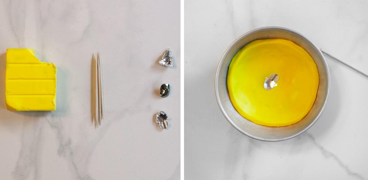 Тарелки из полимерной глины-раскатайте глину и вдавите страз