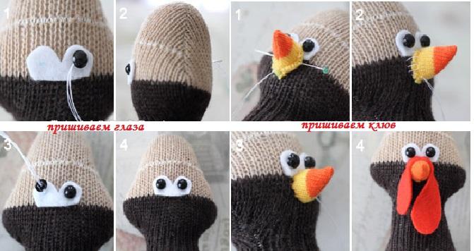 Оформляем голову для петушка из носков
