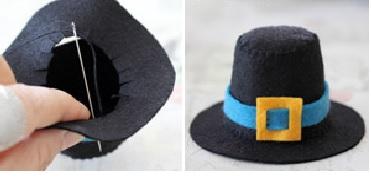 Пришиваем поля к шляпе для петушка из носка