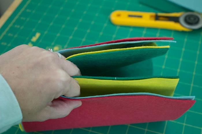 Фотоальбом из фетра-схема сшивания листов