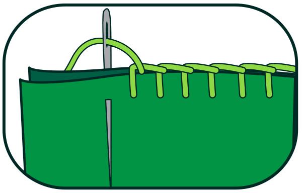 Носок из фетра-обметочный петельный стежок