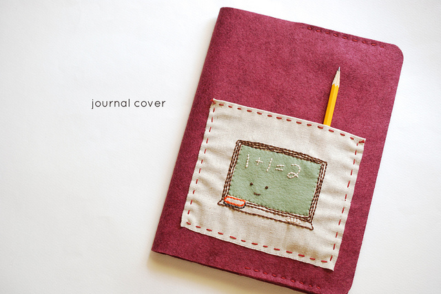 Обложка для книги из фетра с вышивкой