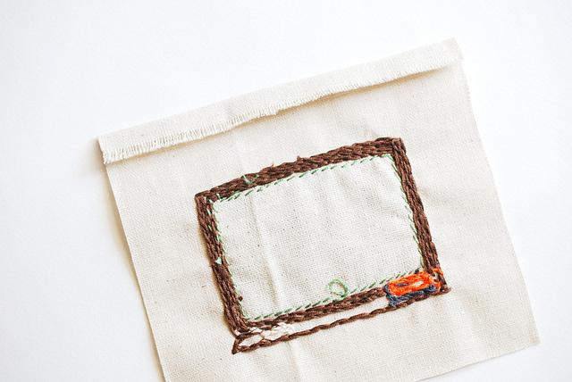Обложка для книги из фетра-подверните вышивку вверху