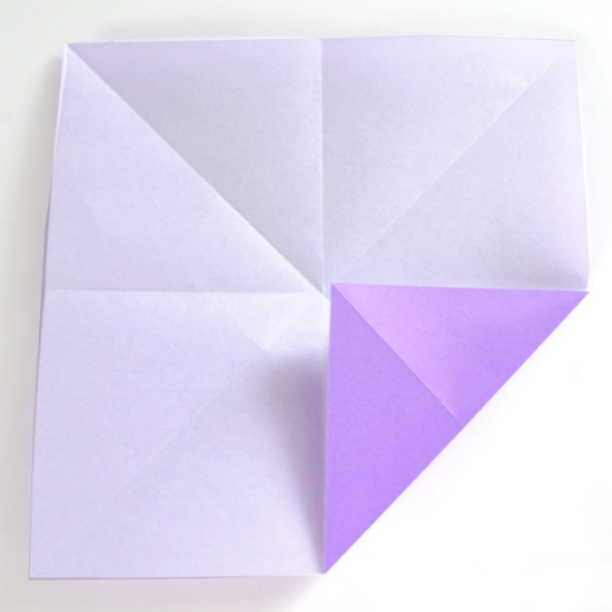 Абажур оригами-заверните угол к точке посередине