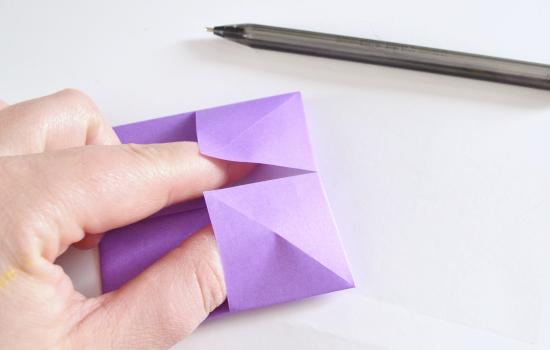 Абажур оригами-вставьте пальцы в уголки