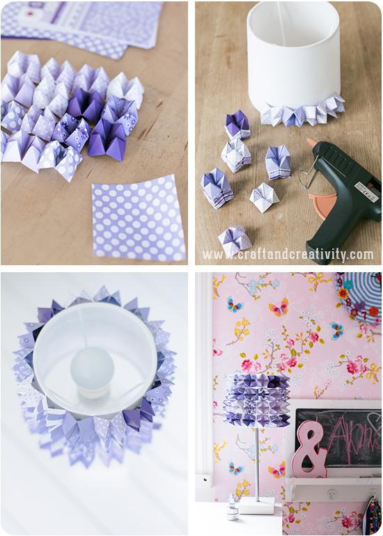Абажур оригами-приклейте их к абажуру