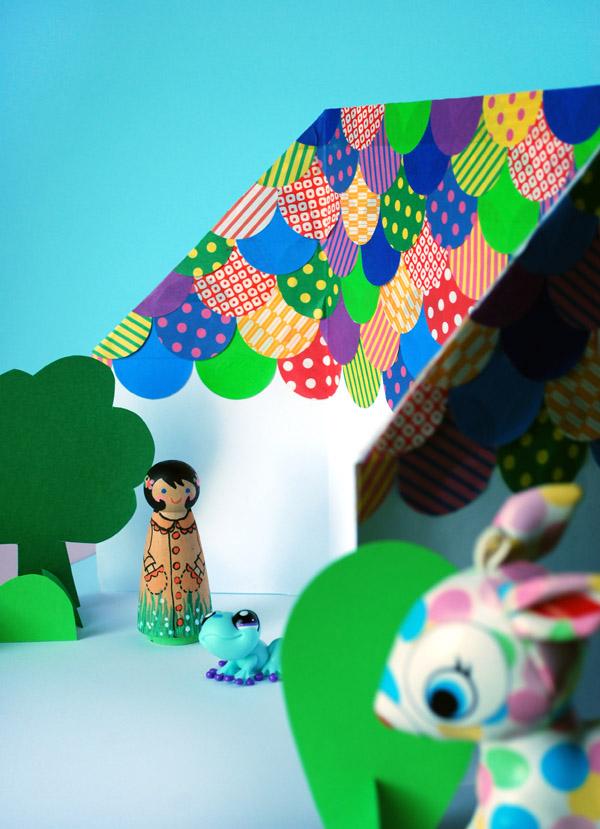 Домик оригами-приклейте крышу