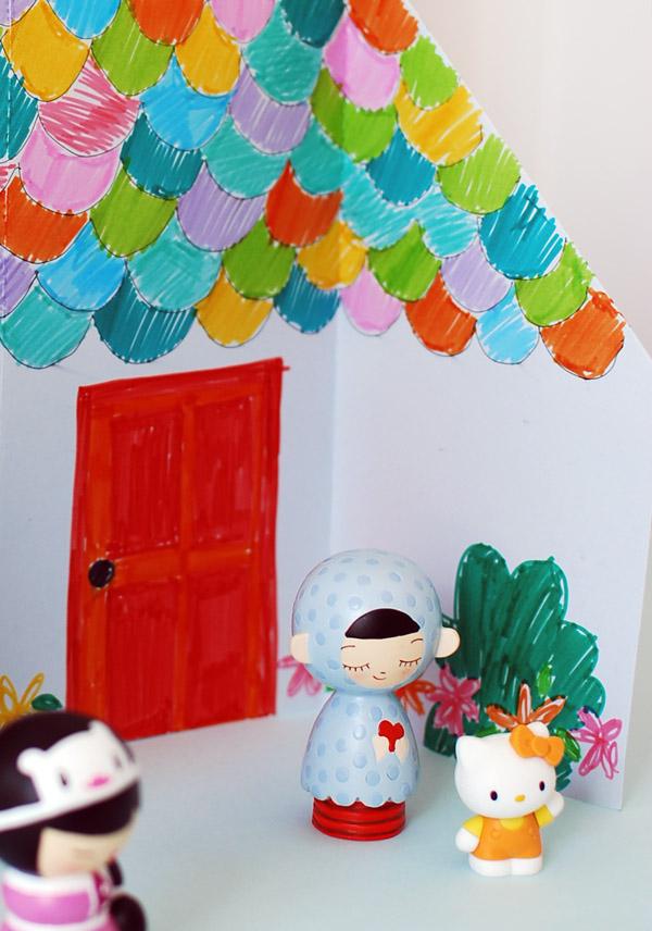 Домик оригами-вид крупным планом