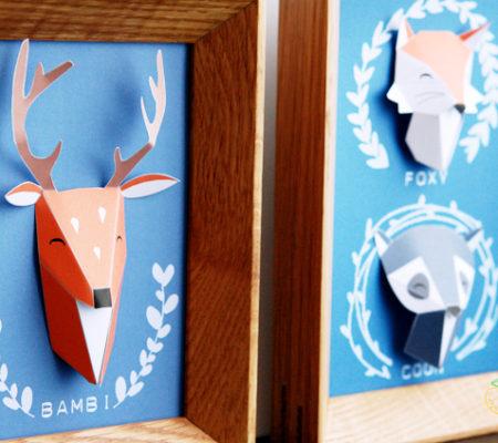 Объемный олень из бумаги своими руками шаблоны   Объемный конструктор из картона для детей 14