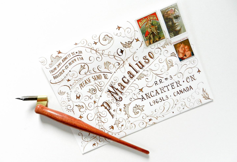 Красивое оформление письма-письмо с чернилами орехового цвета