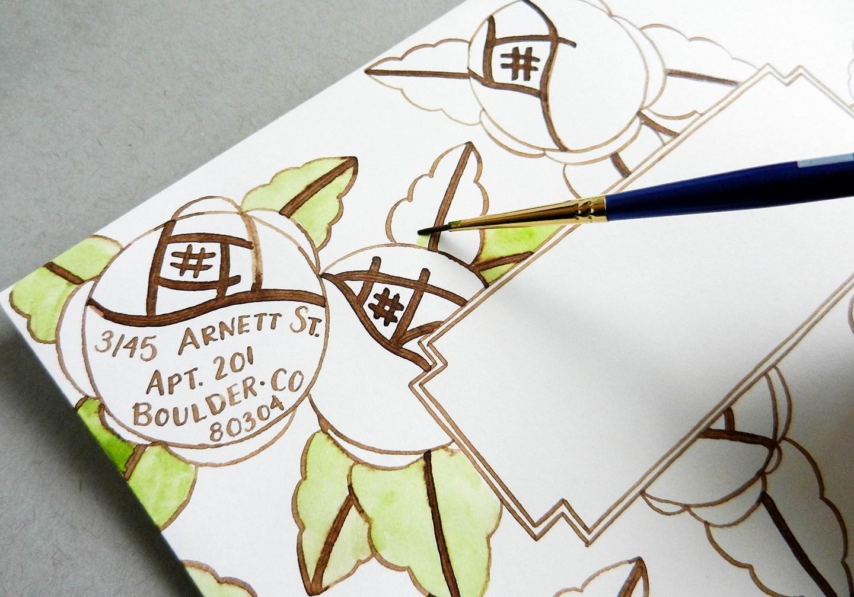 Красивый конверт из бумаги-разрисуйте контуры коричневым