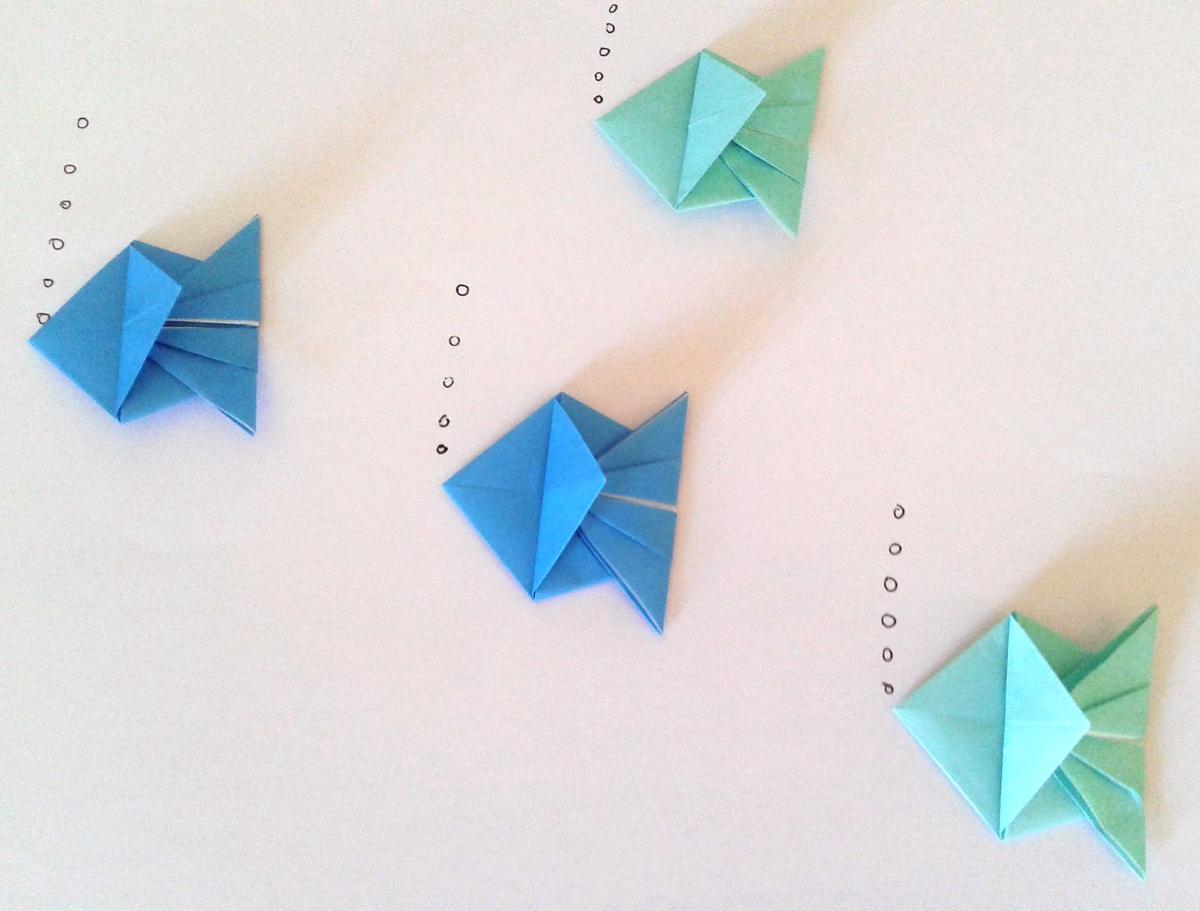 Оригами рибки с пузырьками