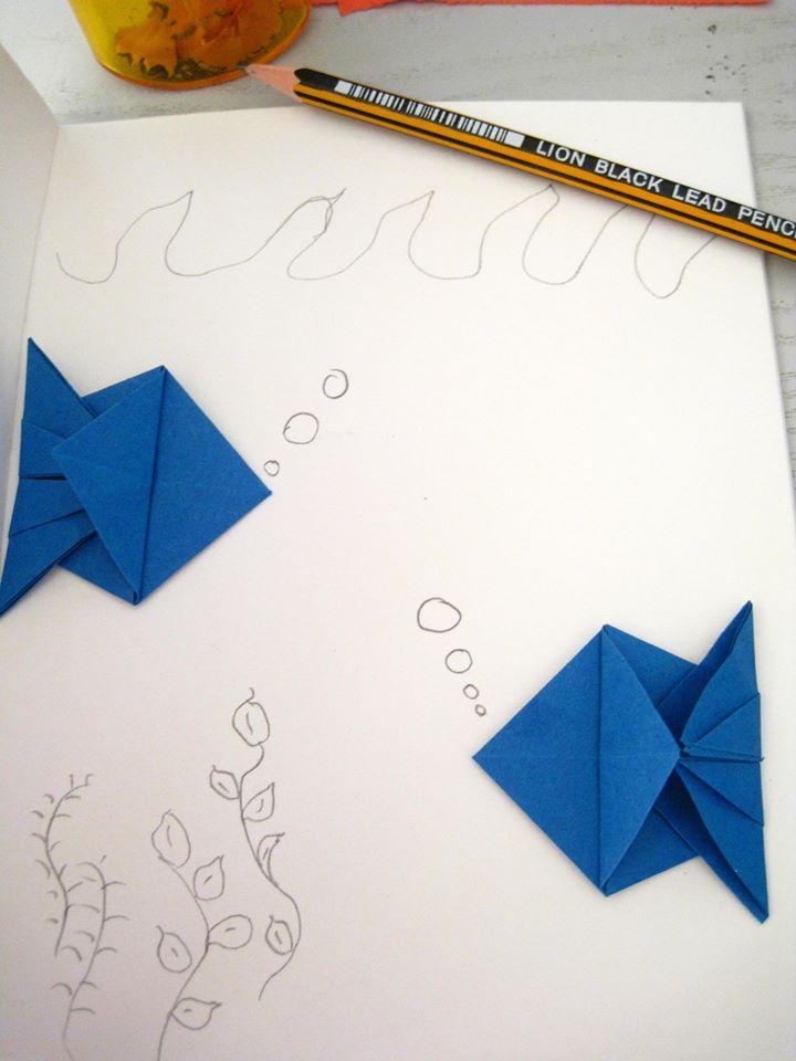 Оригами рибки синие