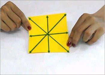 Оригами звезда ниндзя-сформуйте складки