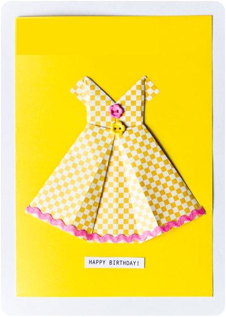 Платье оригами своими руками-открытка