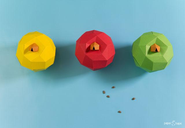 Яблоко оригами из бумаги своими руками